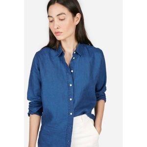 EVERLANE Blue Linen Relaxed Shirt